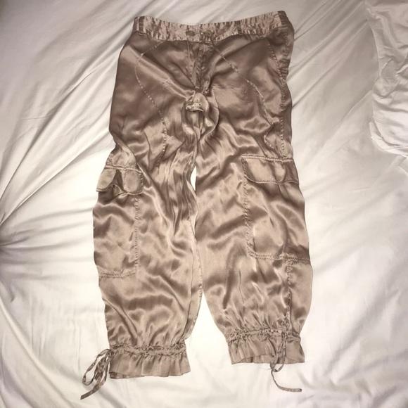 Light Pink Silk Cargo Pants